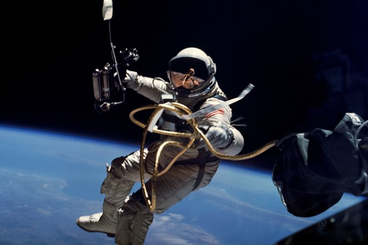 Astronaut Edward H. White II, pilot for the Gemini-Titan 4 space flight, floats in space during America's first spacewalk on June 3, 1965 © NASA